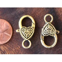 25x14mm Heart Lobster Clasps, Antique Gold