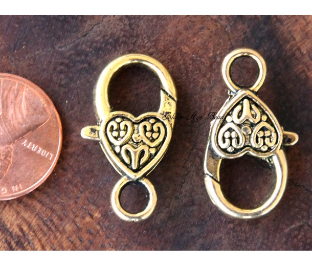 25x14mm Heart Lobster Clasps, Antique Gold, Pack of 10