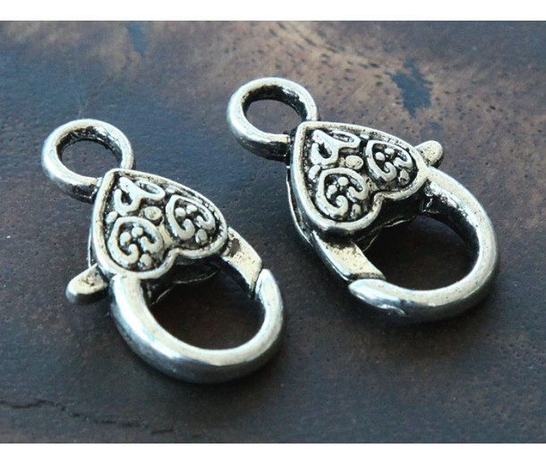 25x14mm Heart Lobster Clasps, Antique Silver, Pack of 10