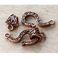 27mm Bali Style Hook Clasp, Genuine Antiqued Copper