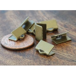10x7mm Smooth Ribbon Ends, Antique Brass