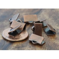 10x7mm Smooth Ribbon Ends, Antique Copper