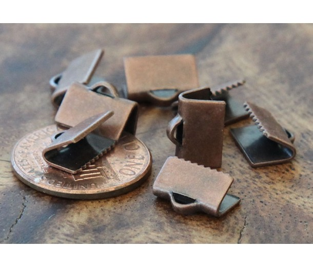 10x7mm Smooth Ribbon Ends, Antique Copper, Pack of 20