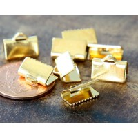 10x7mm Smooth Ribbon Ends, Gold Tone