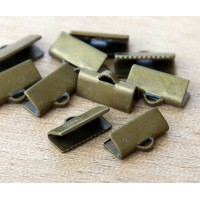 13x5mm Smooth Ribbon Ends, Antique Brass