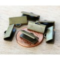 13x5mm Smooth Ribbon Ends, Antique Brass, Pack of 20