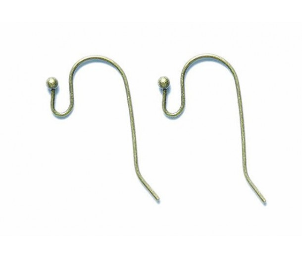 21mm Fish Hook Ear Wires, Antique Brass, Pack of 50