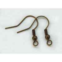19mm Hook Ear Wires with Ball and Coil, Antique Brass