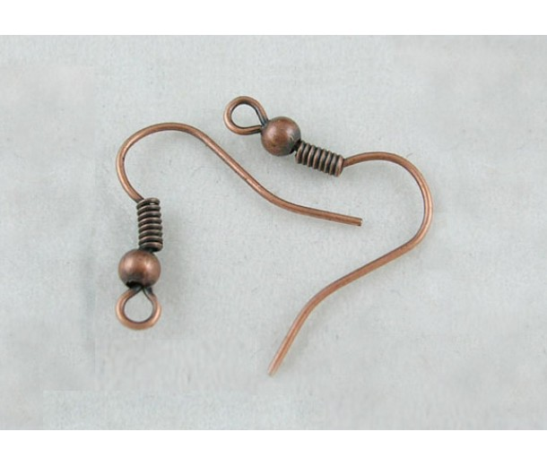 19mm Hook Ear Wires with Ball and Coil, Antique Copper, Pack of 50