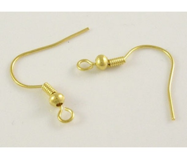 19mm Hook Ear Wires with Ball and Coil, Gold Tone