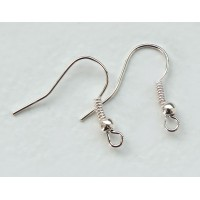 19mm Hook Ear Wires with Ball and Coil, Silver Tone, Pack of 50