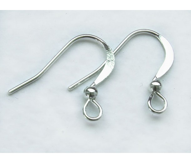 16mm Flat Hook Ear Wires with Ball, Silver Tone, Pack of 50