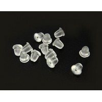 3x4mm Clear Rubber Bell Earnuts, Pack of 100