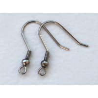 22mm Stainless Steel Hook Ear Wires with Ball and Coil, Pack of 40