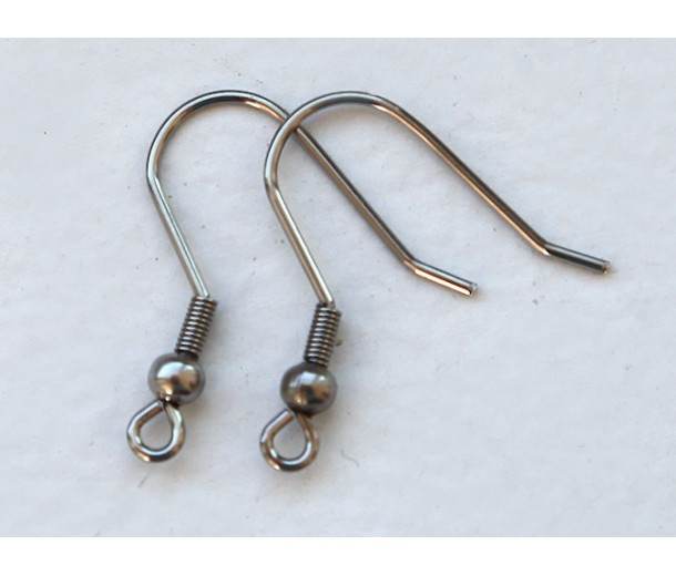 22mm Stainless Steel Hook Ear Wires with Ball and Coil