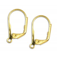 13mm Leverback Ear Wires, Gold Plated