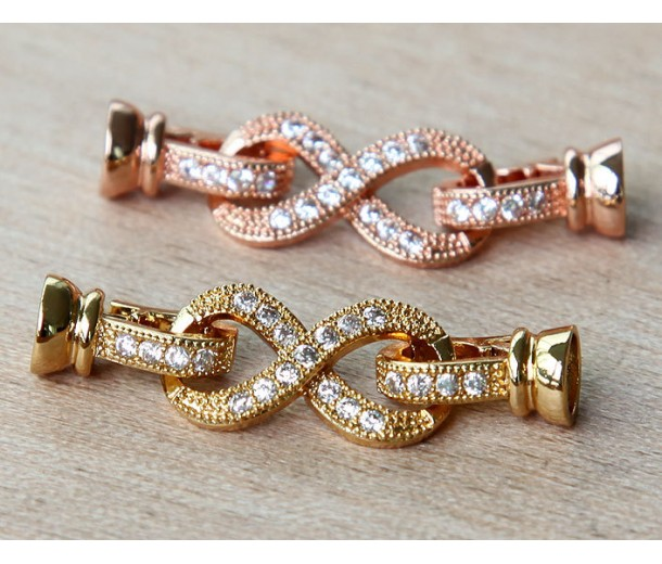 38mm Pave Infinity Loop Clasp, Gold Tone