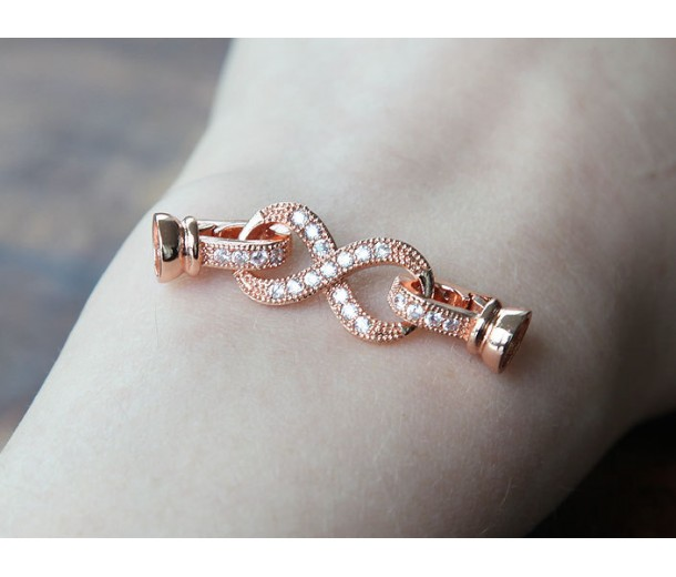 38mm Pave Infinity Loop Clasp, Rose Gold Tone