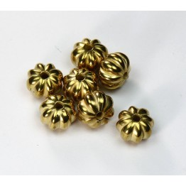 10mm Melon Metalized Beads, Gold Tone