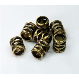 10mm Large Hole Cutout Metalized Beads, Antique Gold