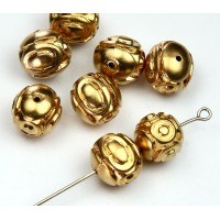 10mm Fancy Oval Metalized Plastic Beads, Bright Gold