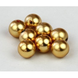 8mm Round Metalized Plastic Beads, Matte Gold