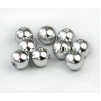 8mm Round Metalized Plastic Beads, Matte Silver