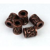 10x8mm Spiral Key Barrel Beads, Bronze, Pack of 5