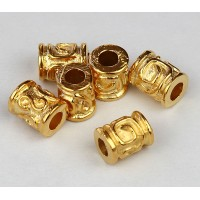 10x8mm Spiral Key Barrel Beads, Gold Plated