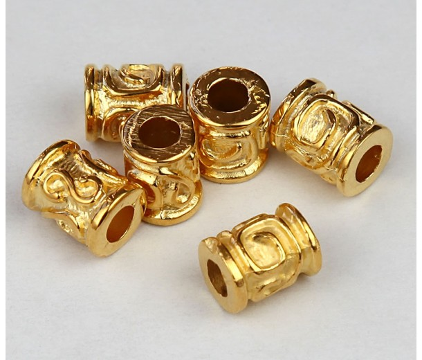 10x8mm Spiral Key Barrel Beads, Gold Plated, Pack of 5
