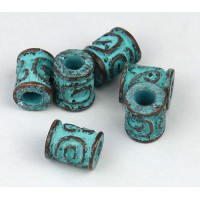 10x8mm Spiral Key Barrel Beads, Green Patina, Pack of 5