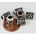 10x8mm Spiral Key Barrel Beads, Antique Silver, Pack of 5