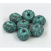 12mm Round Ornate Ball Beads, Green Patina