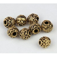 6mm Round Ornate Beads, Antique Gold