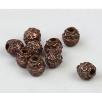 6mm Round Ornate Beads, Bronze Plated