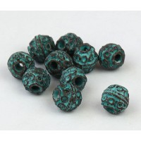6mm Round Ornate Beads, Green Patina, Pack of 10