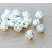 6mm Round Ornate Beads, Silver Plated