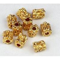 6mm Ornate Column Beads, Gold Plated