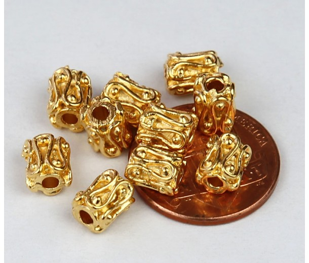 6mm Ornate Column Beads, Gold Plated, Pack of 10