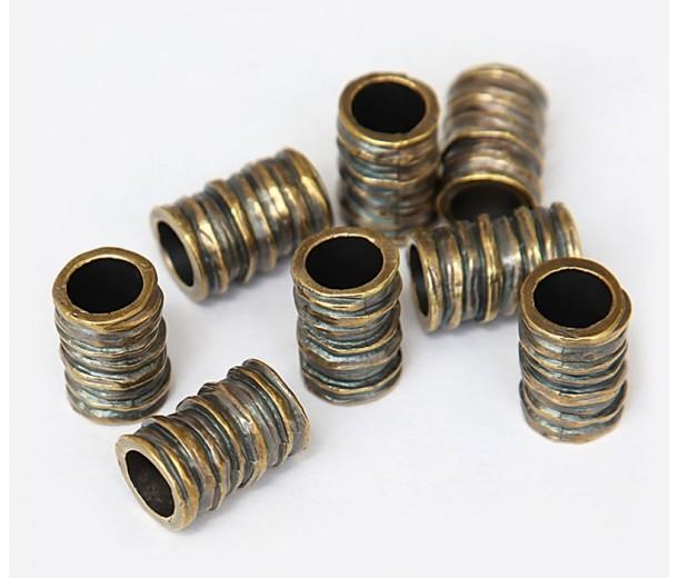 16x11mm Ridged Barrel Beads, Antique Brass