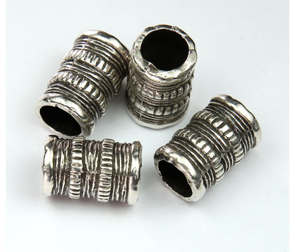 20x13mm Tube Beads with Large Hole, Antique Silver