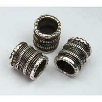 21x19mm Tube Beads with Extra Large Hole, Antique Silver