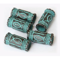 29x14mm Fishy Barrel Beads, Green Patina