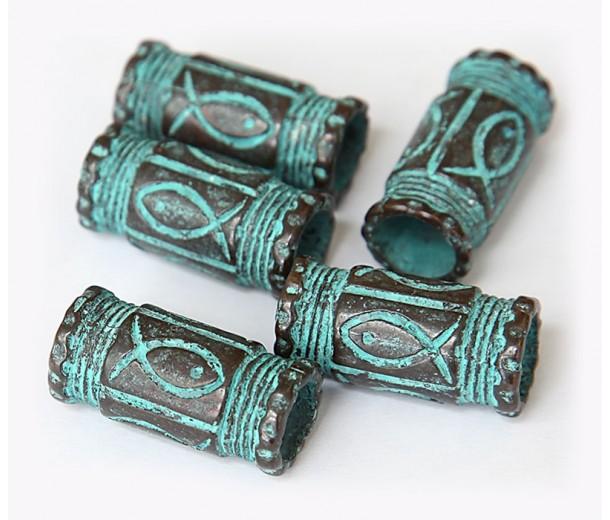 29x14mm Fishy Barrel Beads, Green Patina