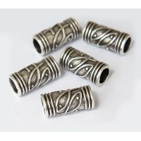 30x15mm Fishy Barrel Beads, Antique Silver