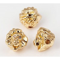 10mm Lion Head Focal Bead with Rhinestones, Gold Tone, 1 Piece