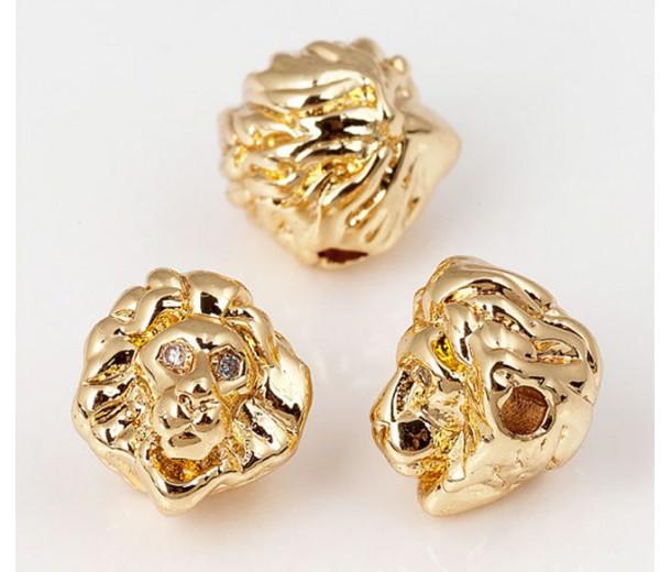 10mm Lion Head Focal Bead with Rhinestones, Gold Tone