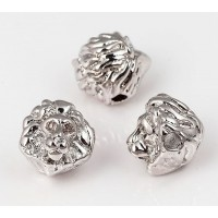 10mm Lion Head Focal Bead with Rhinestones, Rhodium, 1 Piece