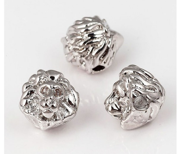 10mm Lion Head Focal Bead with Rhinestones, Rhodium