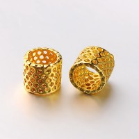 9mm Cutout Tube Beads, Gold Tone